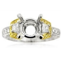 Simon G Diamond Antique Style Platinum & 18k Yellow Gold Engagement Ring Setting
