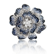 2.56ct Leo Pizzo Diamond & Blue Sapphire 18k White Gold Brooch Pin