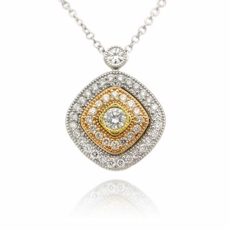 Simon G Diamond Antique Style 18k Three Tone Gold Pendant Necklace