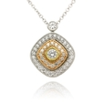 .30ct Simon G Diamond Antique Style 18k Three Tone Gold Pendant Necklace