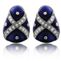 Hidalgo Diamond and Blue Enamel 18k White Gold Earrings