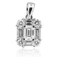 .77ct Diamond 18k White Gold Cluster Pendant