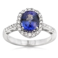 .32ct Diamond and Blue Sapphire 18k White Gold Ring