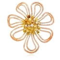 Diamond 18k Three Tone Gold Brooch Pin
