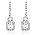 1.42ct Diamond 18k White Gold Dangle Earrings