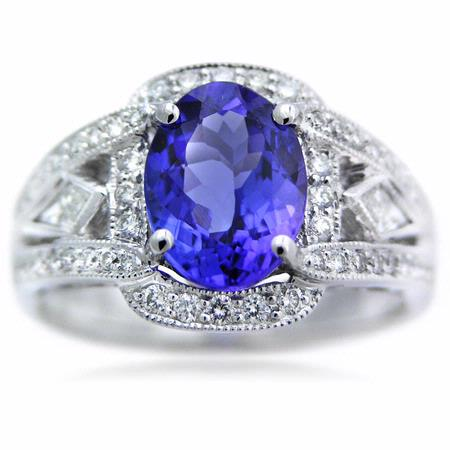 Simon G Diamond & Tanzanite Antique Style 18k White Gold Ring