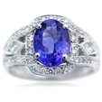 .33ct Simon G Diamond & Tanzanite Antique Style 18k White Gold Ring