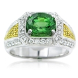 .57ct Simon G Diamond & Tsavorite Antique Style 18k Two Tone Gold Ring