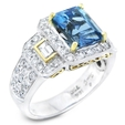 1.03ct Simon G Diamond and Aquamarine Antique Style 18k Two Tone Gold Ring