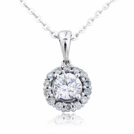 Diamond 18k White Gold Cluster Pendant Necklace