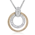 Simon G Diamond Antique Style 18k Two Tone Gold Pendant Necklace