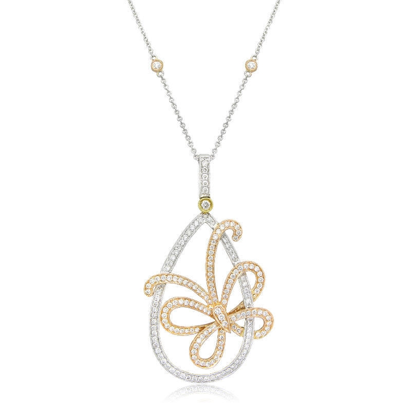 Ct simon g diamond antique style 18k three tone gold butterfly 100ct simon g diamond antique style 18k three tone gold butterfly pendant necklace audiocablefo