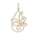 1.00ct Simon G Diamond Antique Style 18k Three Tone Gold Butterfly Pendant Necklace