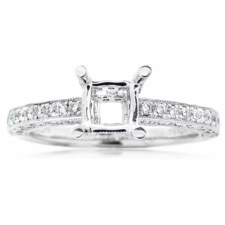 Natalie K Diamond Antique Style Platinum Engagement Ring Mounting