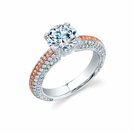 Simon G Diamond Antique Style Platinum and 18k Rose Gold Engagement Ring Setting