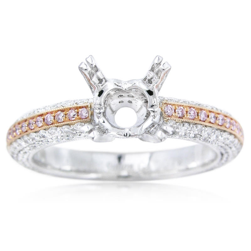 95ct Simon G Diamond Antique Style Platinum And 18k Rose Gold Engagement Ring Setting