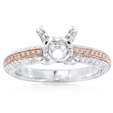 .95ct Simon G Diamond Antique Style Platinum and 18k Rose Gold Engagement Ring Setting