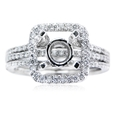 .50ct Simon G Diamond 18k White Gold Halo Engagement Ring Setting and Wedding Band Set