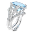 1.50ct Diamond and Aquamarine 18k White Gold Ring