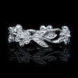 .15ct Diamond Antique Style 14k White Gold Floral Wedding Band Ring
