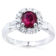 .82ct Diamond and Ruby 18k White Gold Ring