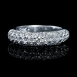 1.53ct Diamond Three Row 18k White Gold Wedding Band Ring