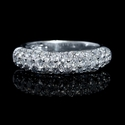 Diamond Three Row 18k White Gold Wedding Band Ring