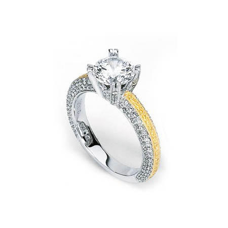 .95ct Simon G Diamond Antique Style Platinum & 18k Yellow Gold Engagement Ring Setting