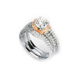 .53ct Simon G Diamond Platinum & 18k Rose Gold Halo Engagement Ring Setting and Wedding Band Set