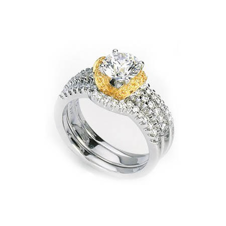 Simon G Diamond Platinum & 18k Yellow Gold Halo Engagement Ring Setting and Wedding Band Set