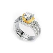 Simon G Diamond Platinum & 18k Yellow Gold Engagement Ring Setting and Wedding Band Set