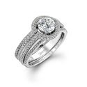 Simon G Diamond Platinum Halo Engagement Ring Setting
