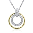 .30ct Simon G Diamond Antique Style 18k Two Tone Gold Pendant Necklace