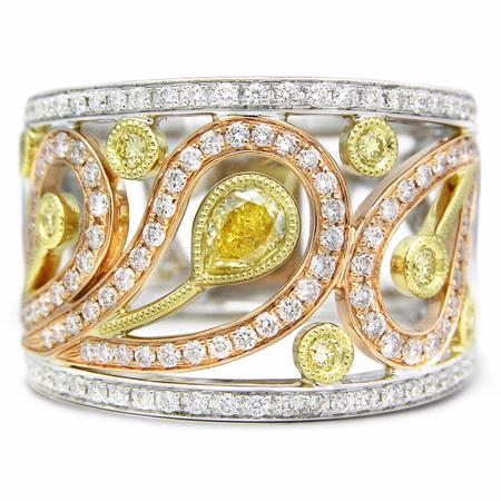 Simon G Diamond Antique Style 18k Three Tone Gold Ring