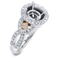 .44ct Simon G Diamond Antique Style 18k Two Tone Gold Halo Engagement Ring Setting