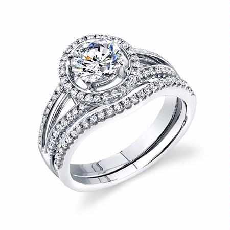 diamond platinum halo engagement ring setting and wedding band set - Engagement Rings With Wedding Band