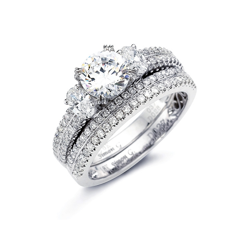 simon g diamond platinum engagement ring setting and wedding band set - Platinum Wedding Ring Sets