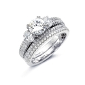 Simon G Diamond Platinum Engagement Ring Setting and Wedding Band Set