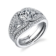 .50ct Simon G Diamond Antique Style Platinum Engagement Ring Setting and Wedding Band Set