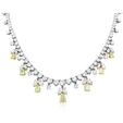 21.18ct Diamond 18k Two Tone Gold Graduated Necklace