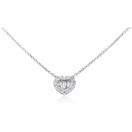 Diamond 18k White Gold Heart Pendant Necklace