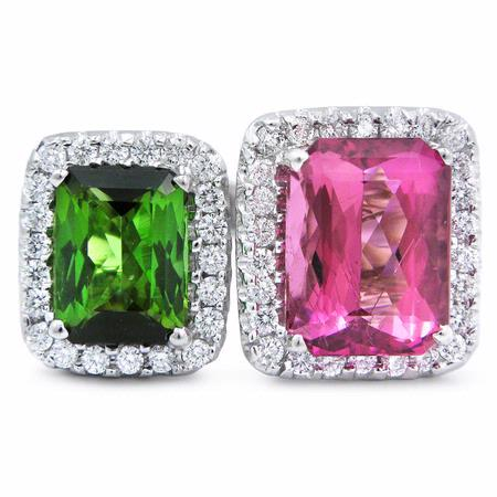 Diamond Green & Pink Tourmaline 18k White Gold Ring