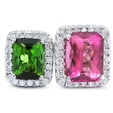 .80ct Diamond Green & Pink Tourmaline 18k White Gold Ring