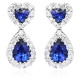 .58ct Diamond and Blue Sapphire 18k White Gold Dangle earrings