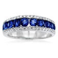 .34ct Diamond and Blue Sapphire 18k White Gold Wedding Band Ring