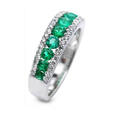.33ct Diamond and Emerald 18k White Gold Wedding Band Ring
