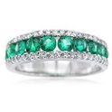 Diamond and Emerald 18k White Gold Wedding Band Ring