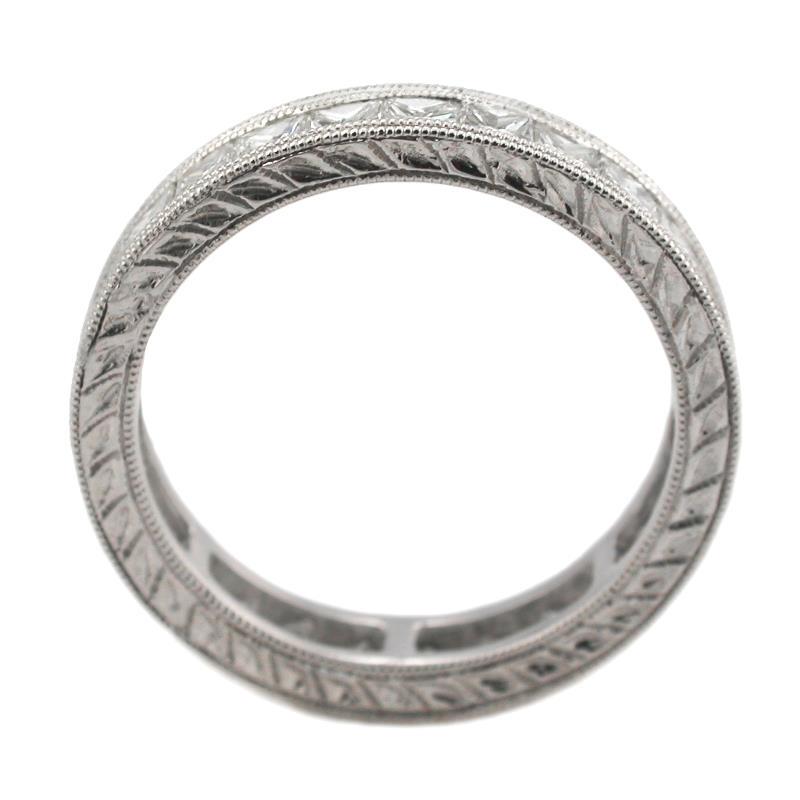 Diamond Antique Style Platinum Eternity Wedding Band Ring
