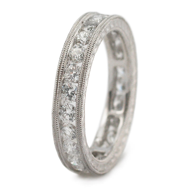 1.43ct Diamond Antique Style Platinum Eternity Wedding