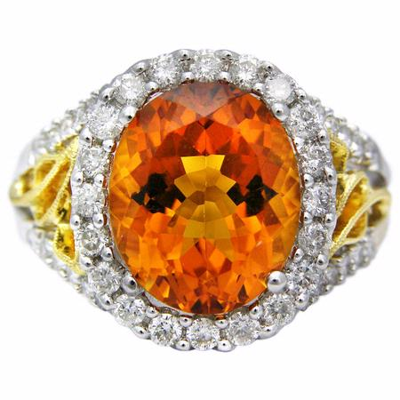 Diamond and Citrine 18k Two Tone Gold Ring
